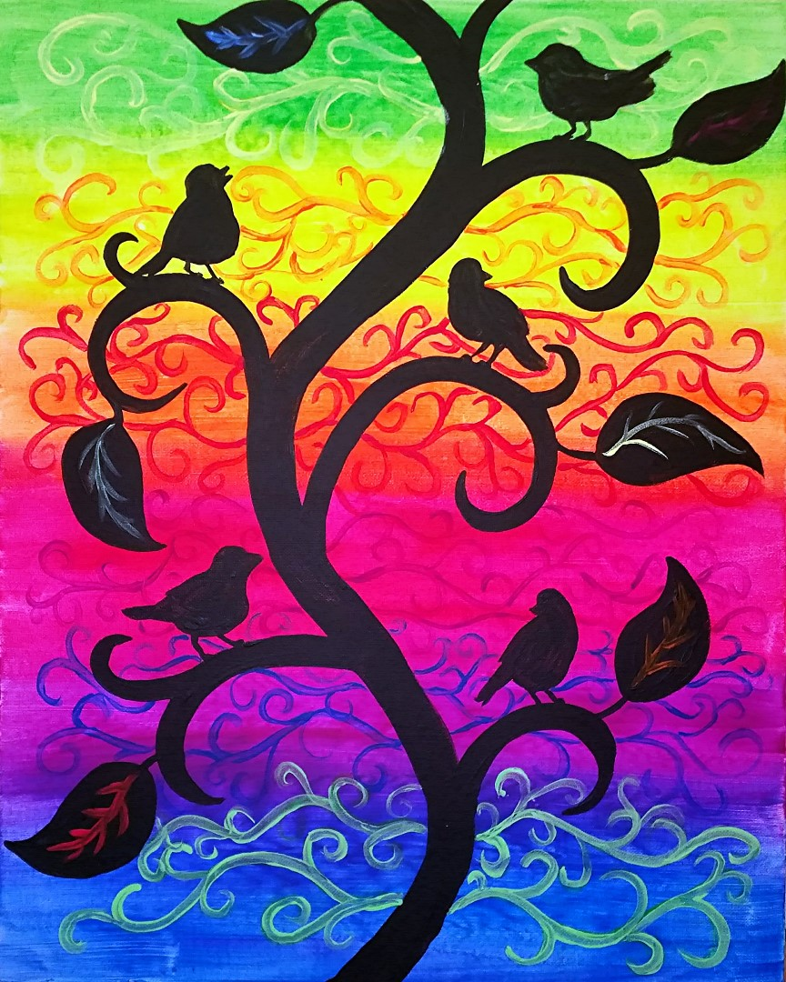 Birds on a Swirling Vine