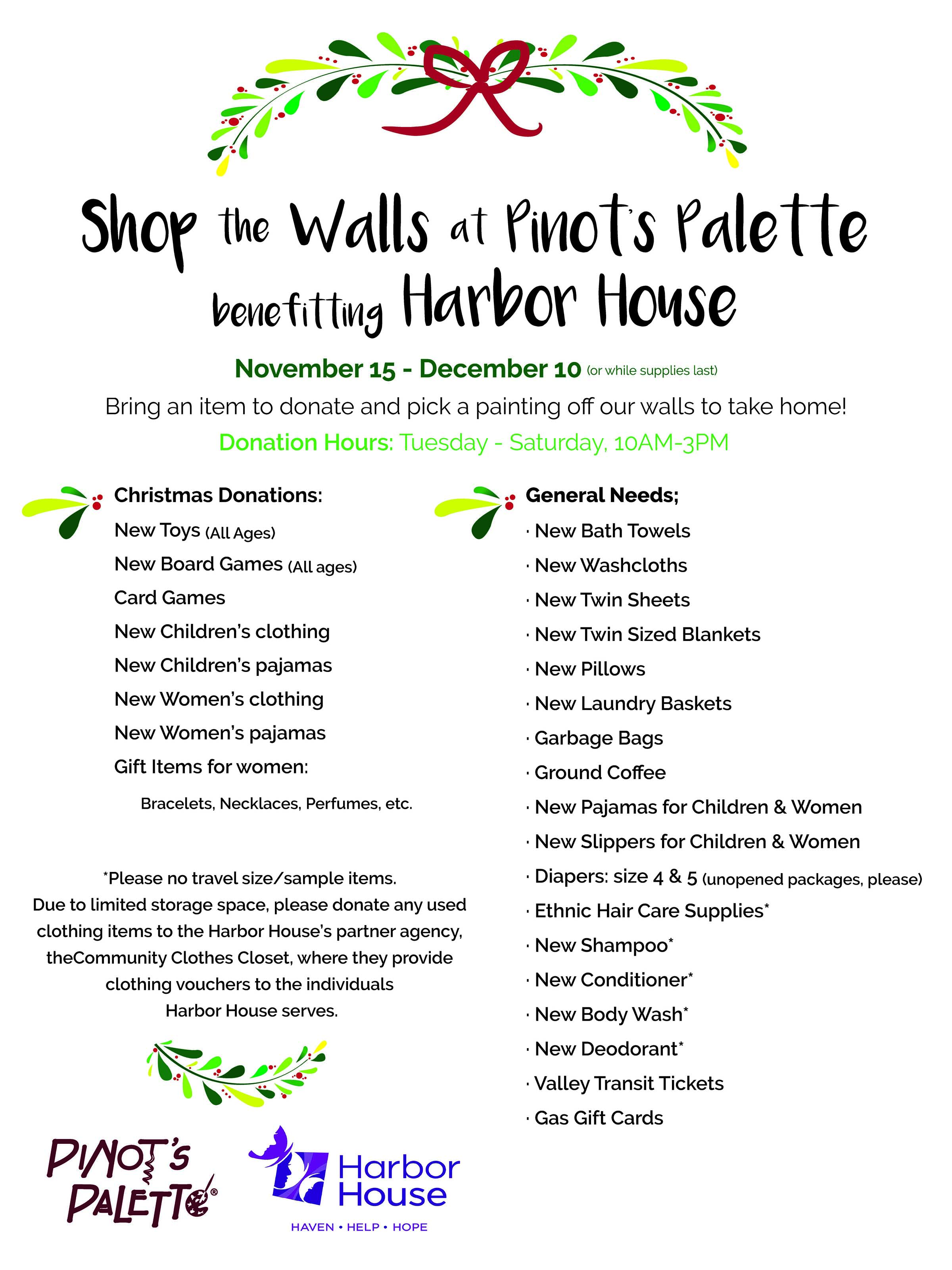 Shop our walls pinots palette beginning november 15th pinots palette 226 e college avenue appleton invites the fox valley community to shop our walls to benefit harbor house stopboris Gallery