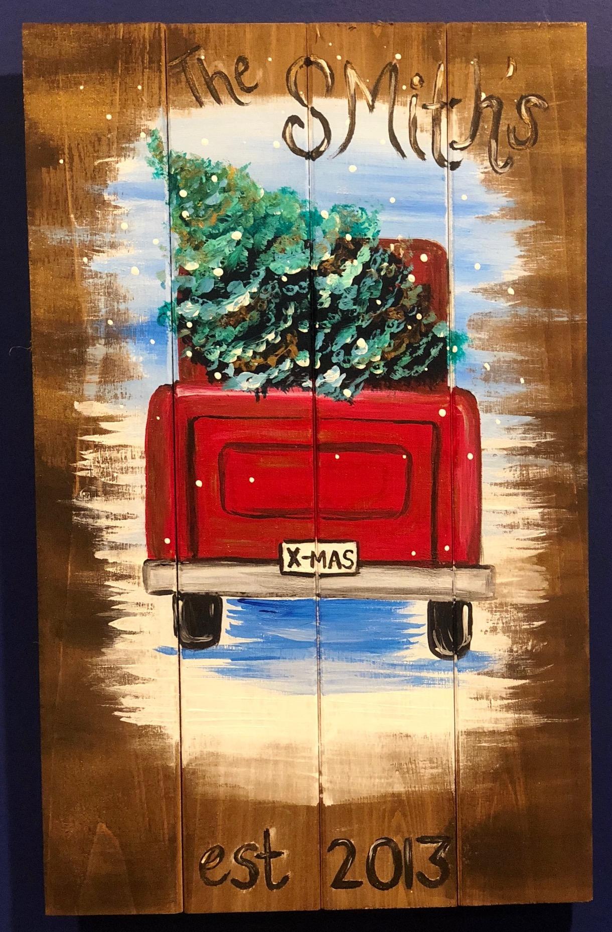 Little Red Truck- Wood Pallet