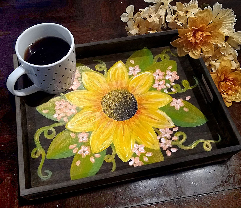 Sunflower Wood Serving Tray