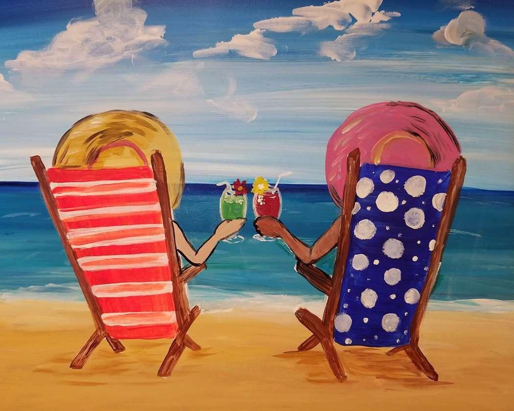 girls night out Tampa painting and wine