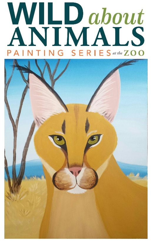 Caracal zoo painting