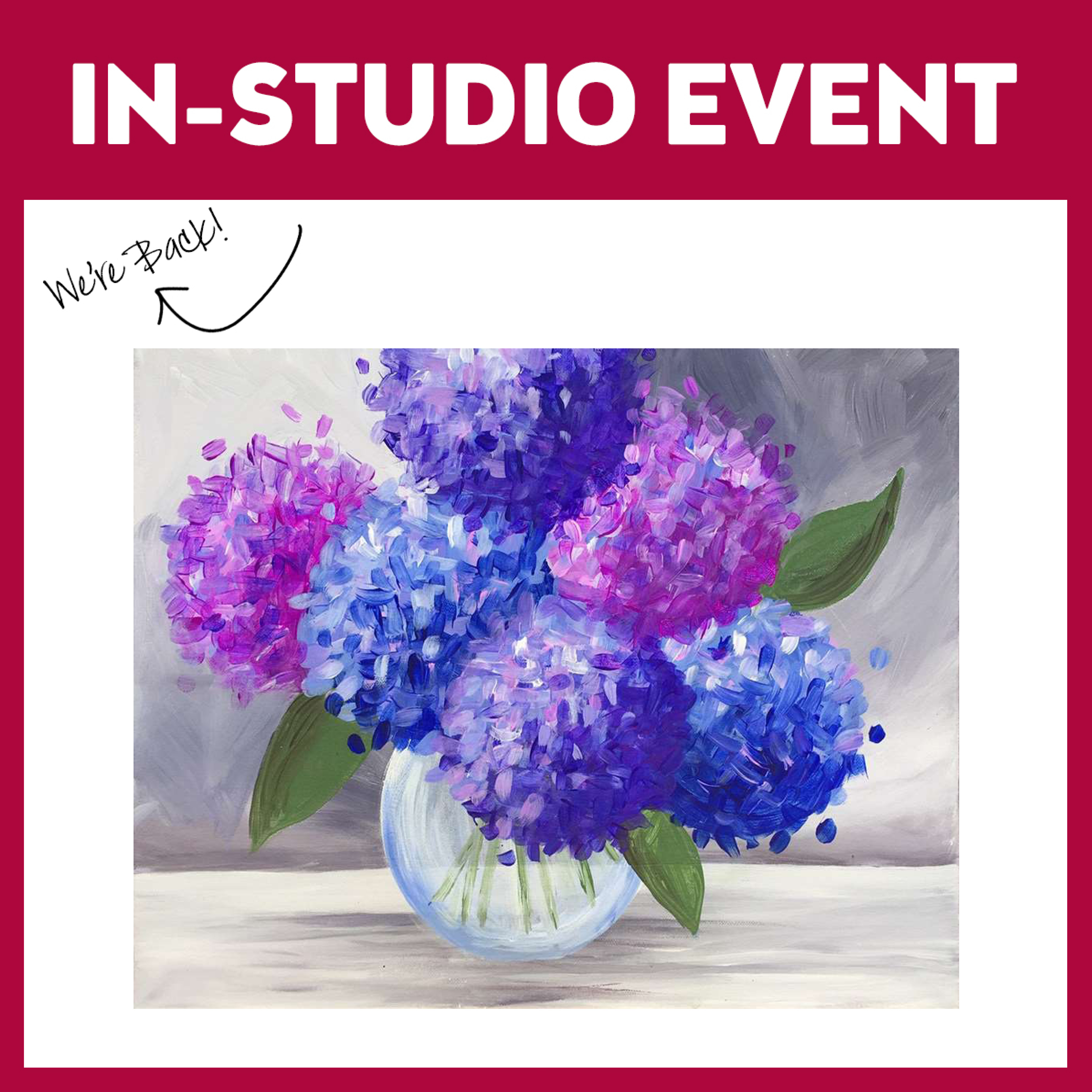 Lovely Hydrangeas Live In Studio - Limited Seating