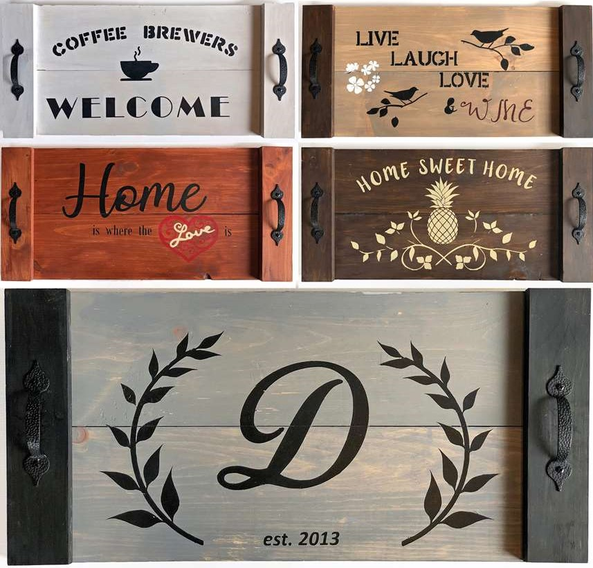 DIY Wooden Stencil Serving Tray