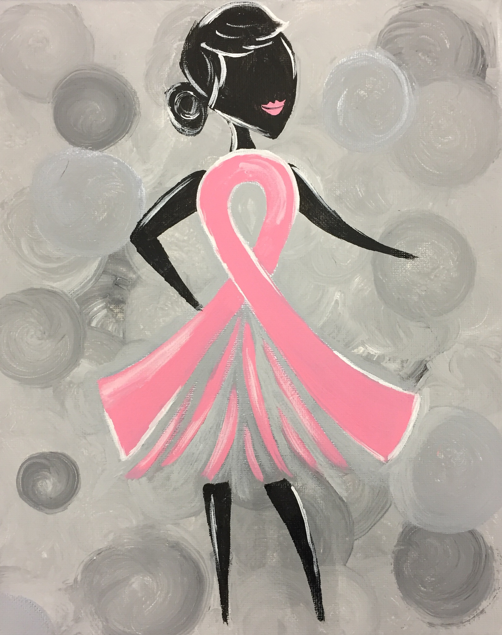 Paint this lovely lady with her poppin' pink ribbon and Pinot's Palette will donate $10 to the Susan G Komen Foundation!