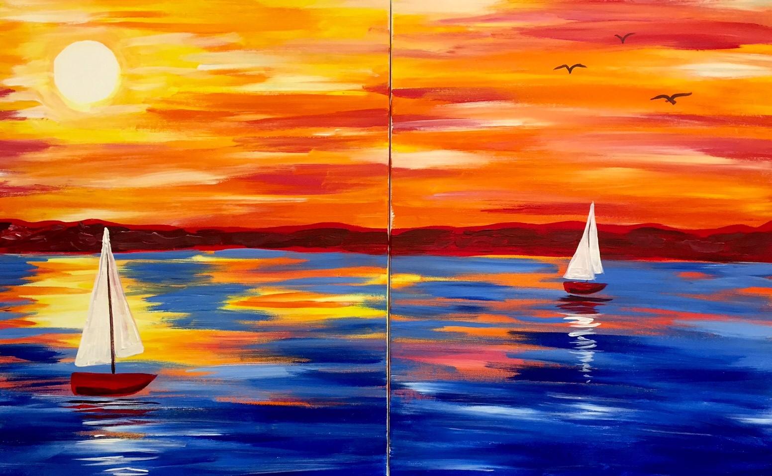 date night, lake paintings, sailing, night out, painting and wine, sip and paint