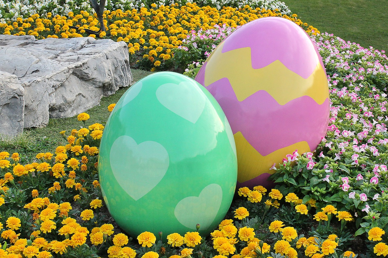 giant easter eggs in backyard