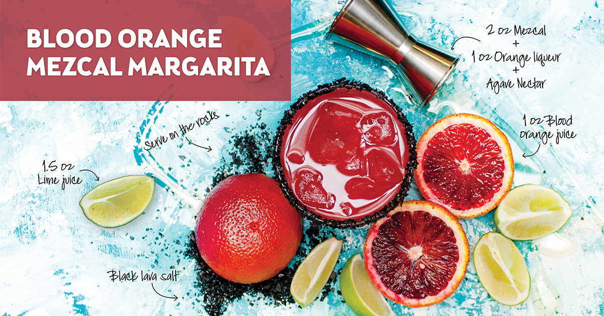 Ingredients for blood orange mezcal margarita