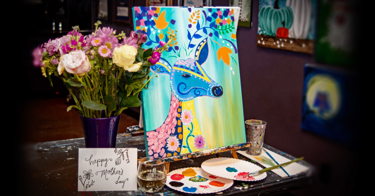 flowers, card and glass with colorful deer painting