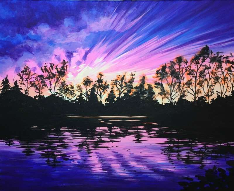 """Sunset in Purple"" painting with ultra violet"