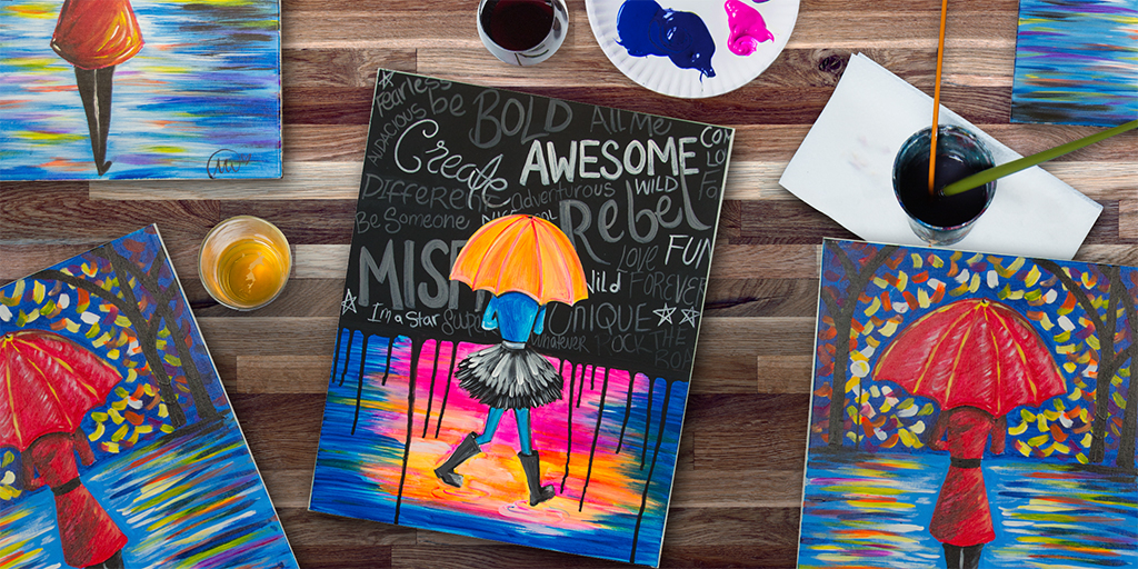 colorful umbrella painting with three red umbrella paintings