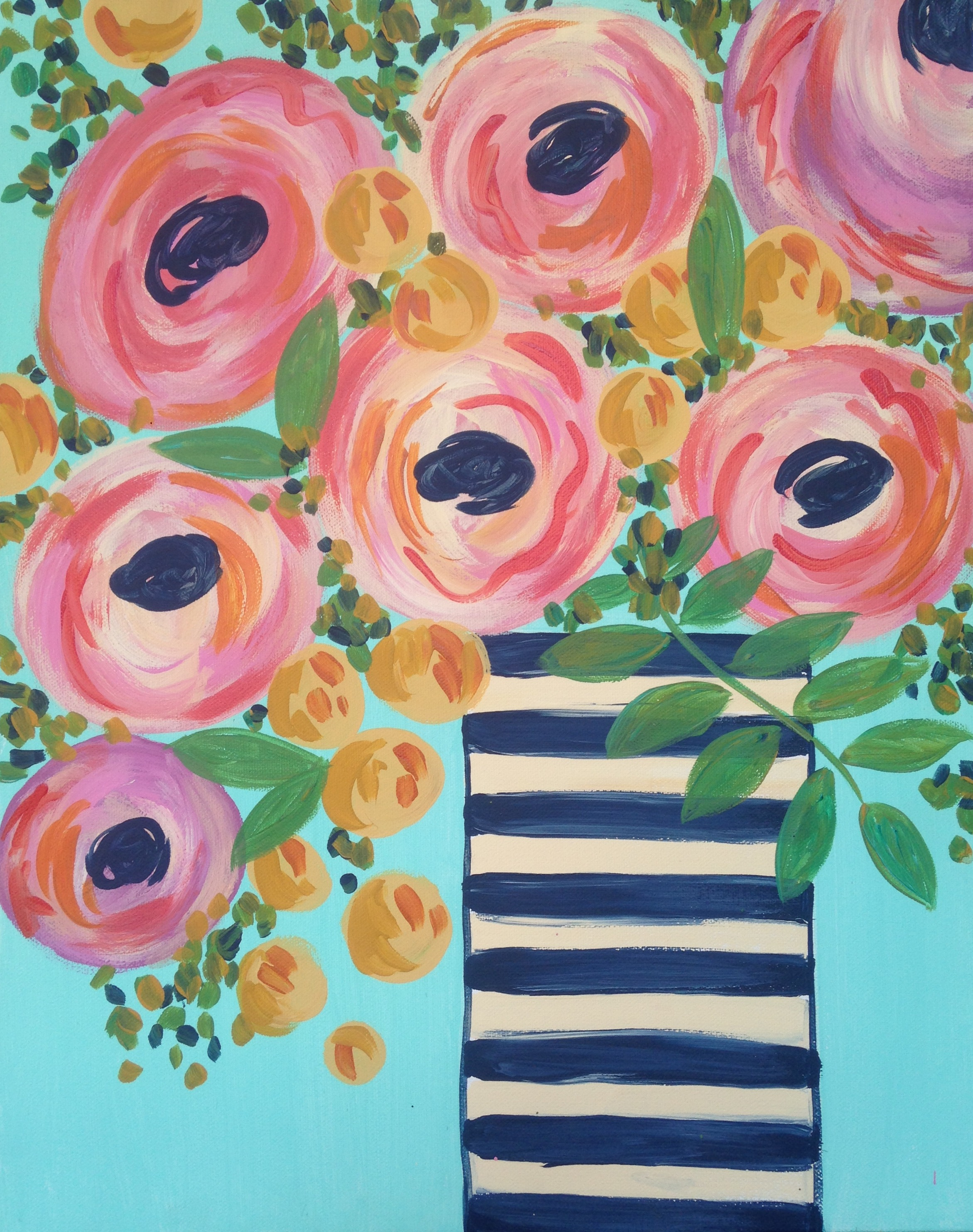 This vase of flowers is inspired by modern yet soft home décor, which will be so fun to paint! Let your own creativity flourish and customize your colors to fit your style!