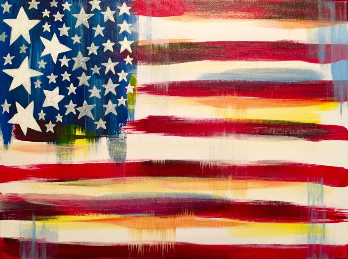 Pinot's Palette Exton PA American Flag Painting