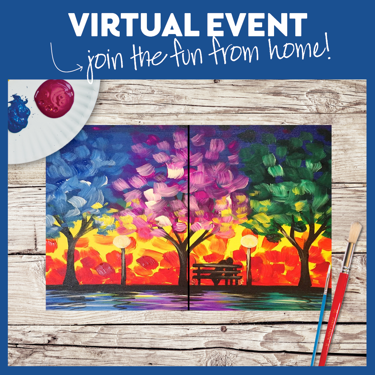 DATE NIGHT!!!!   $25 a canvas!!!  VIRTUAL CLASS! WITH and WITHOUT SUPPLIES!