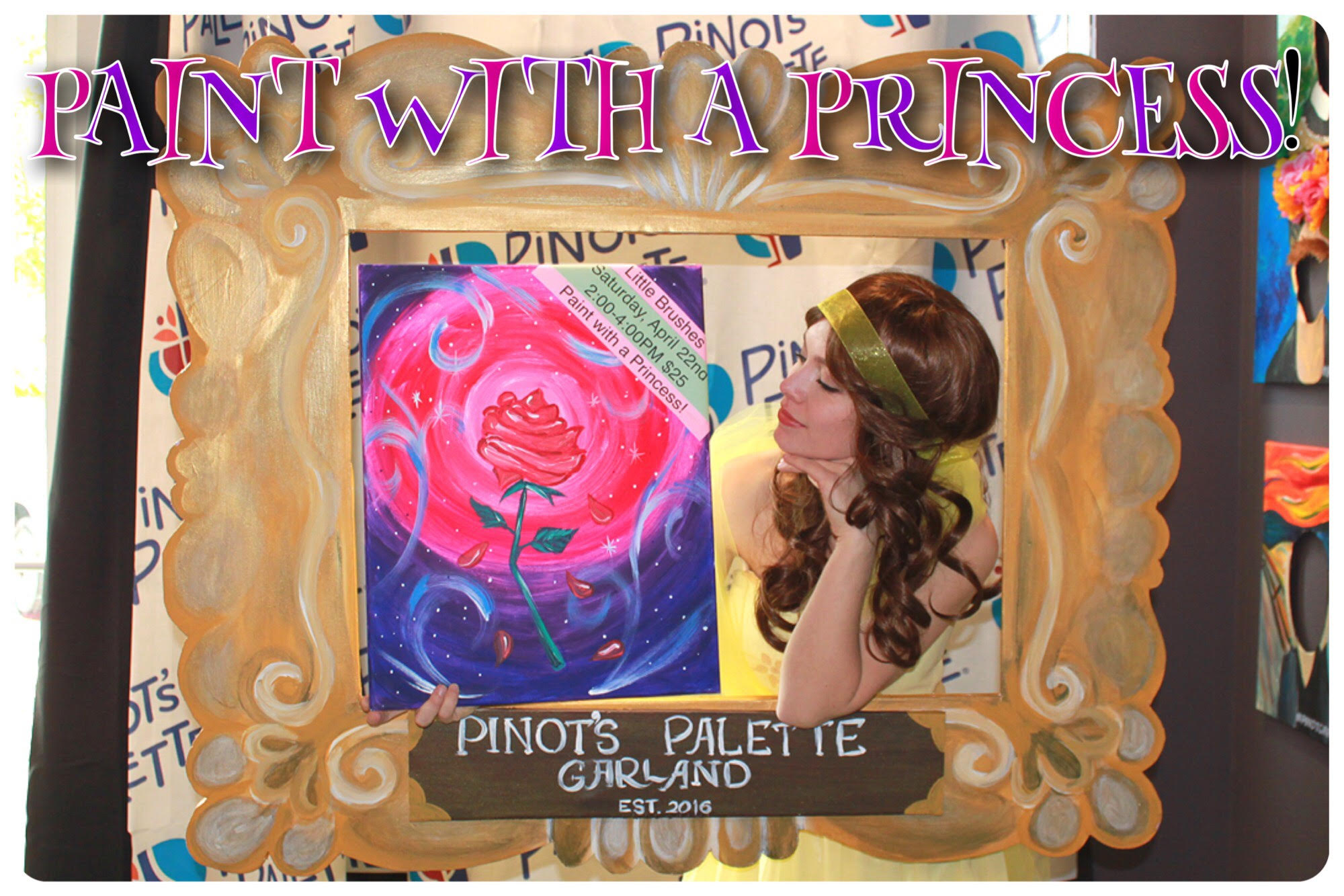 paint with a princess at garland's favorite paint and sip studio