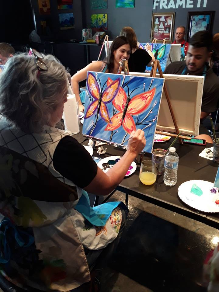 create handcrafted decor at paint night in Garland