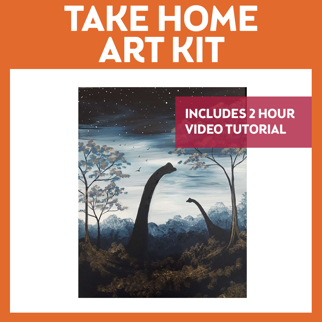DINOSAURS IN THE MIST - TAKE HOME ART KIT WITH VIDEO TUTORIAL