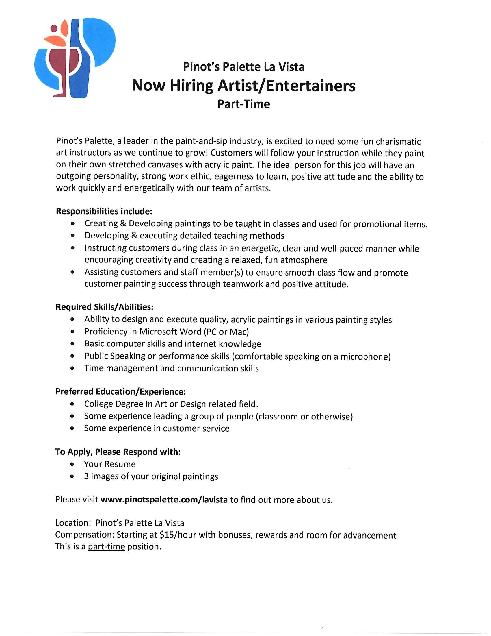 Artist/Entertainer Job Posting