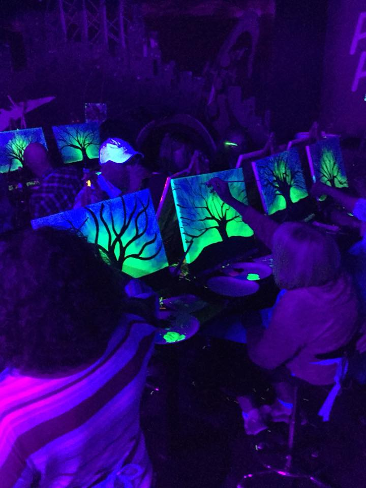 Painting fun at pinots palette the dark pinots palette yes we have added professional grade black light bars to the jazz room our private party mozeypictures Image collections