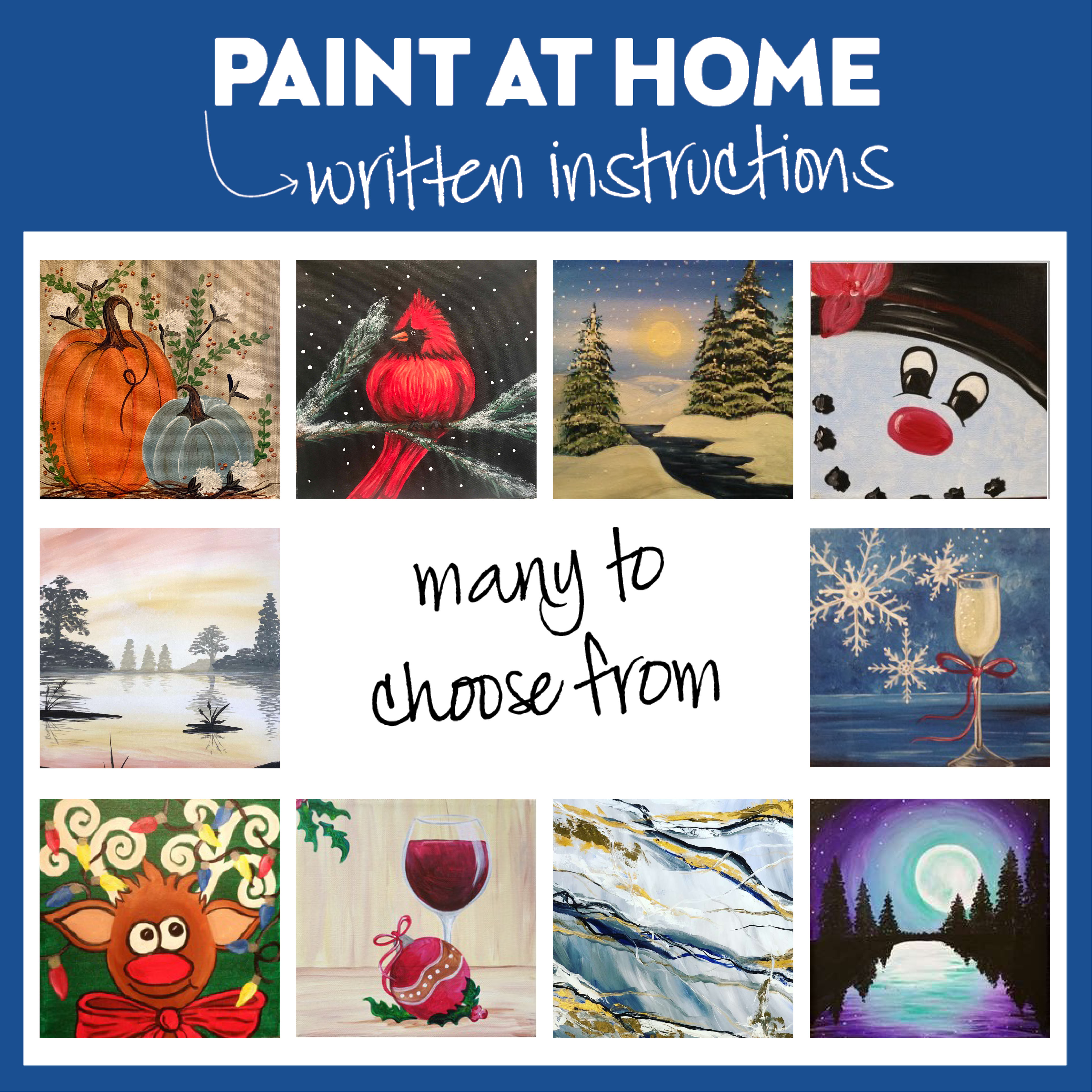 "Take Home Paint Kits! 10x10"" or 9x12"" canvas"