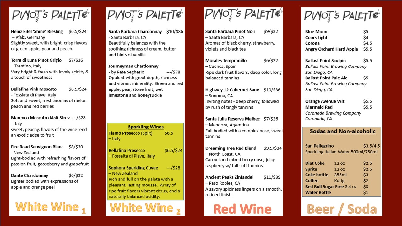 Explore our blog pinot 39 s palette liberty station for Bar 88 food menu