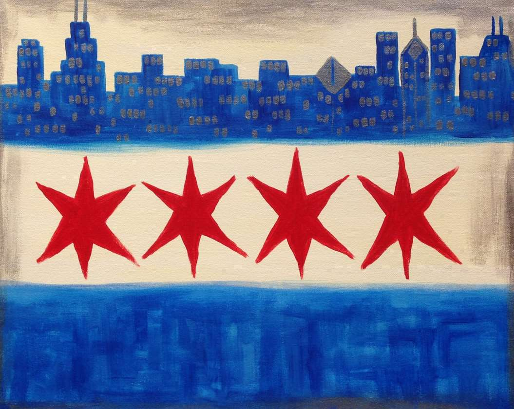 Chicago Flag Cityscape