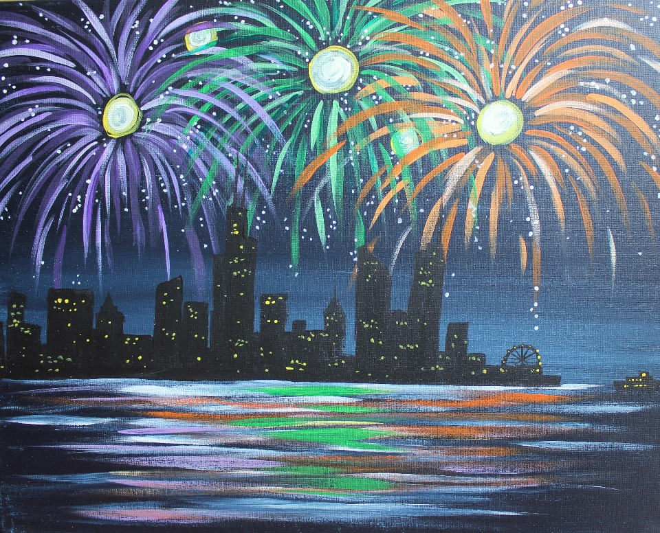 Paint, Sip & Sparkle with Fireworks Over Chicago