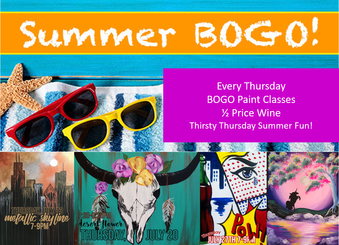 Thirsty Thursday Wine and Paint Summer Deals