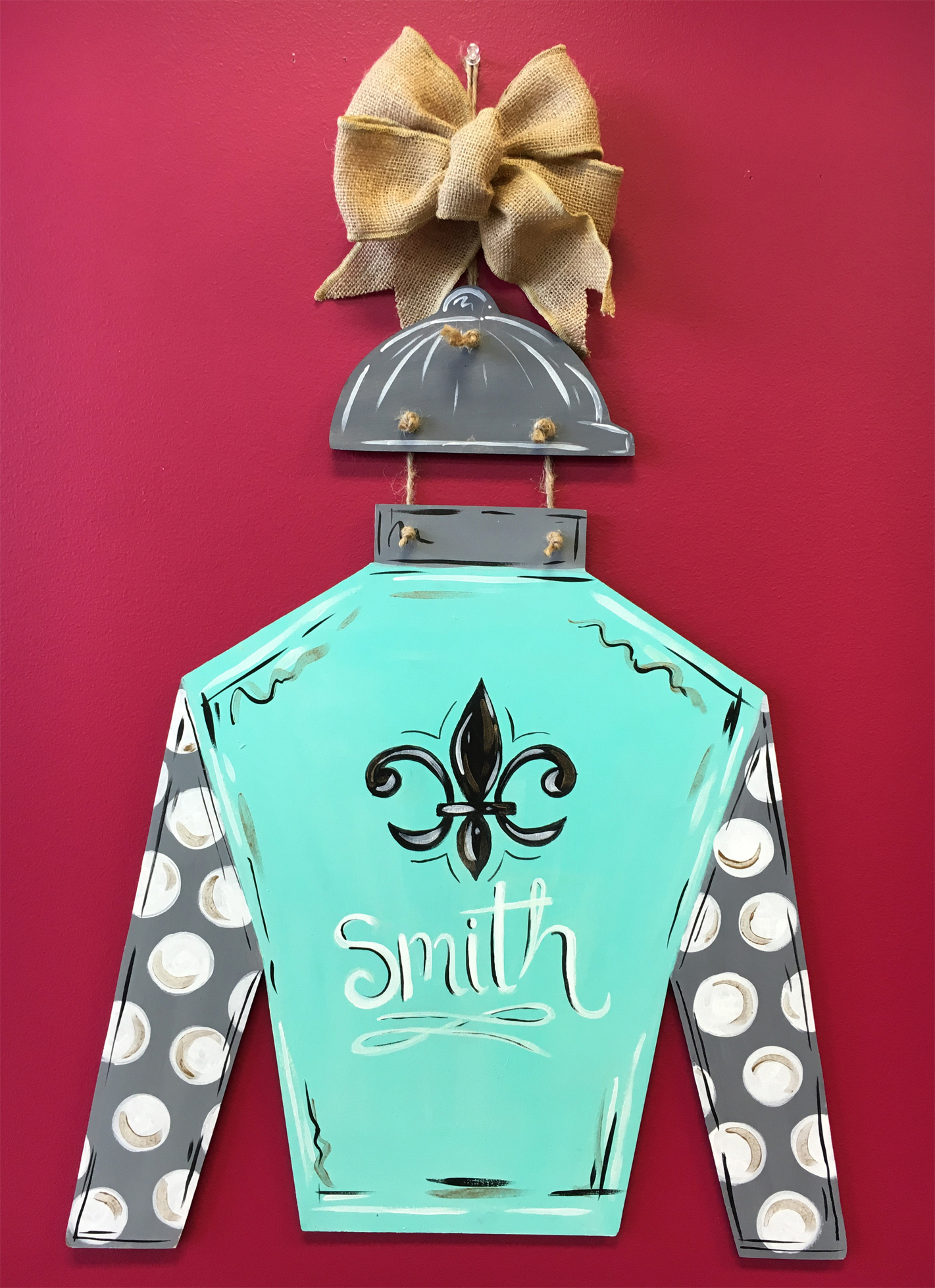 Custom door hanger jockey silk thu apr 06 7pm at st for Paint and sip louisville co