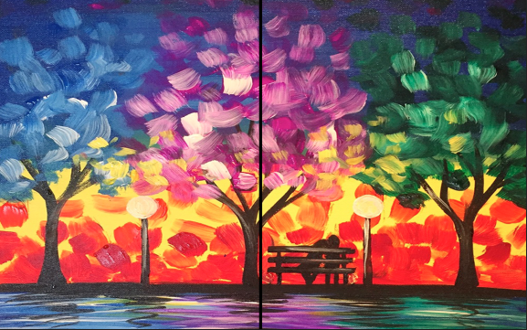 Romance in the Park Date Night Painting