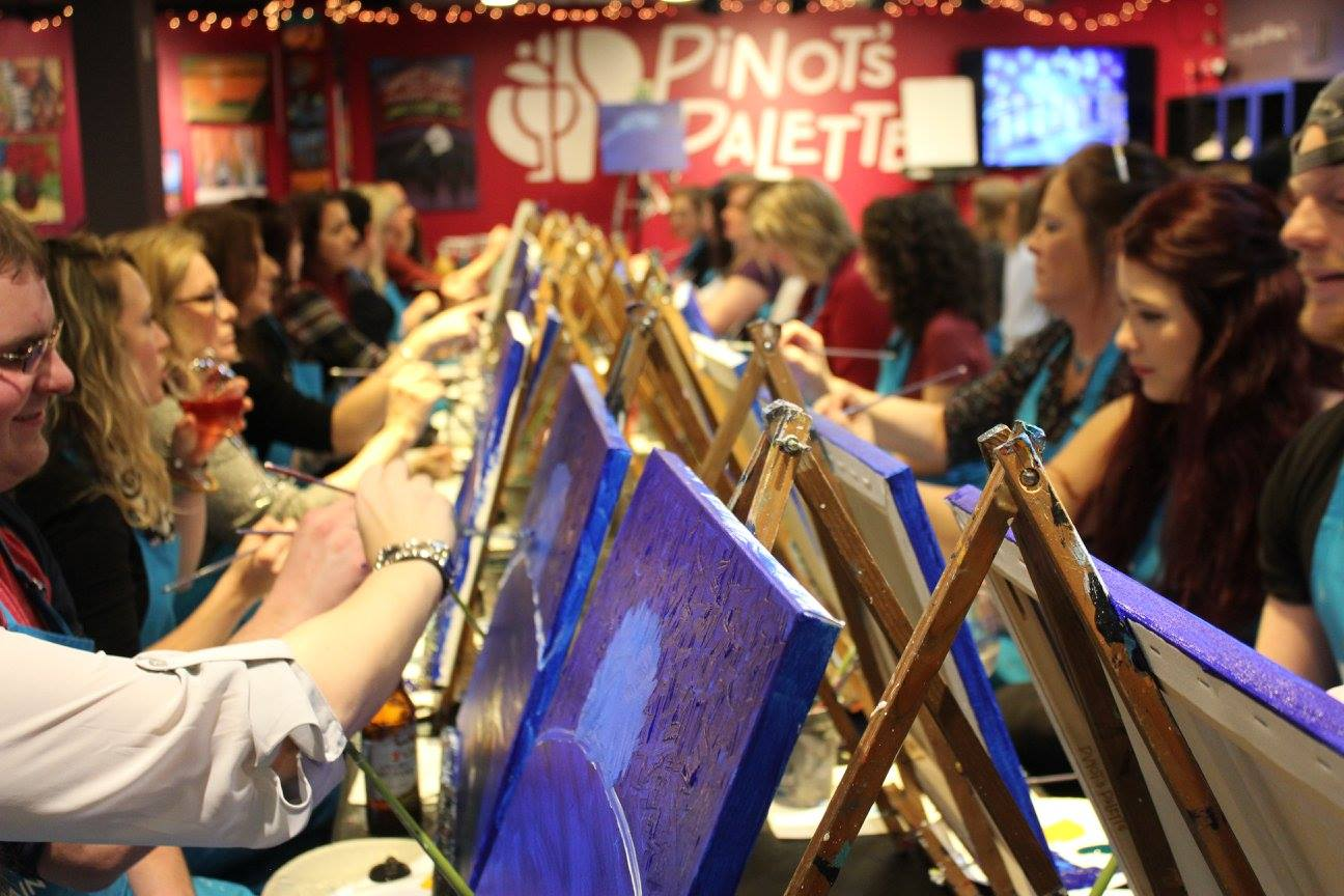 pinot's palette paint and sip fun girls' night out naperville science