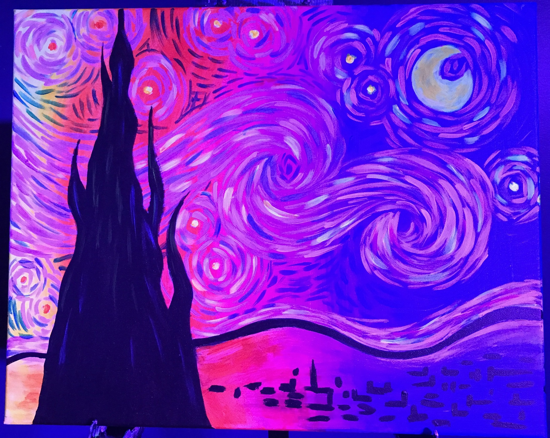 Well Be Painting Psychedelic Starry Night Under Blacklight The Will Burst With Glowing Neon Colors As You Paint It On Canvas But