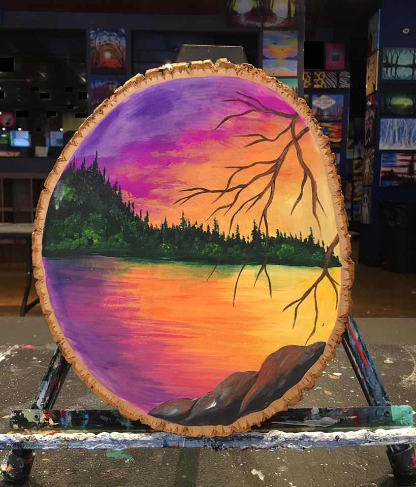 Sunset Ablaze Wood Round