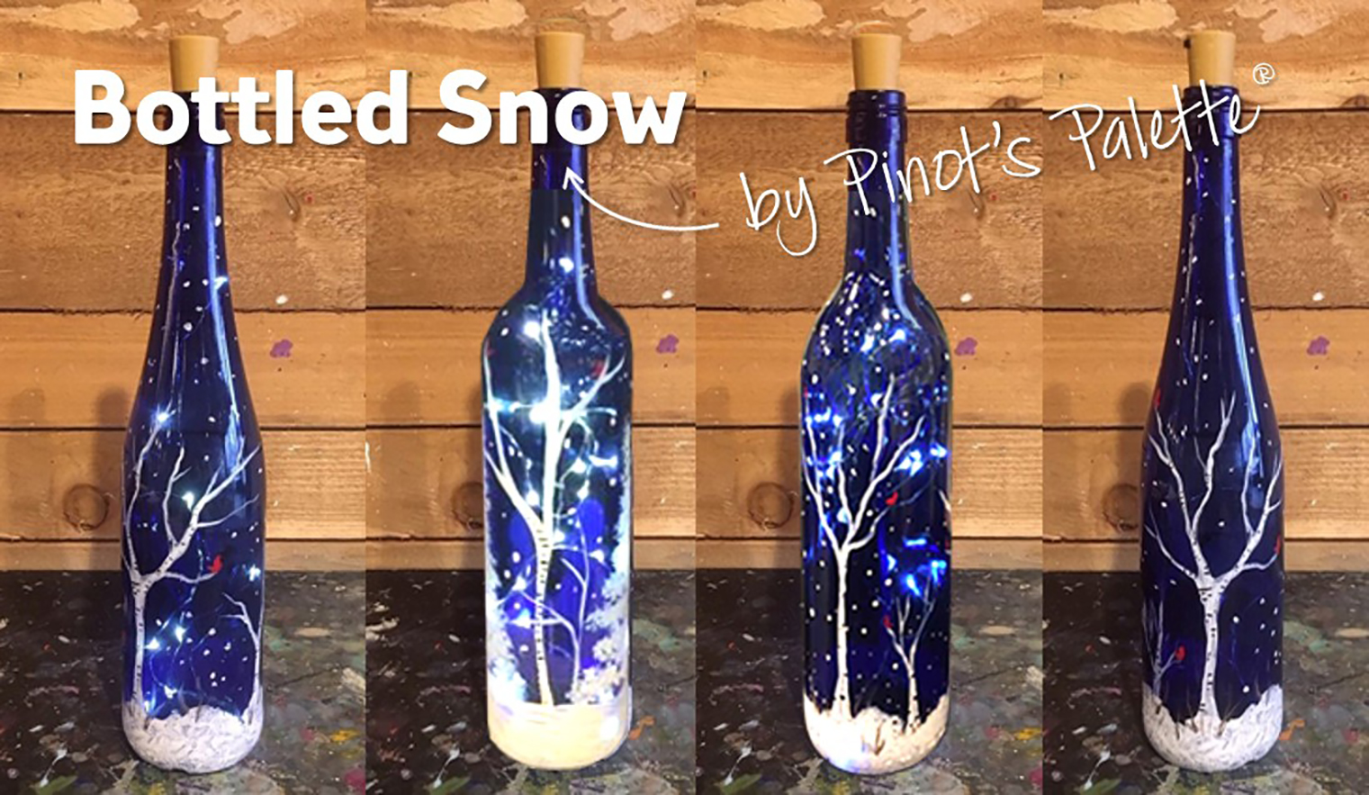 Wine and painting wine bottles in Woodinville WA Chateau St. Michelley winery with Pinot's Palette South Hill