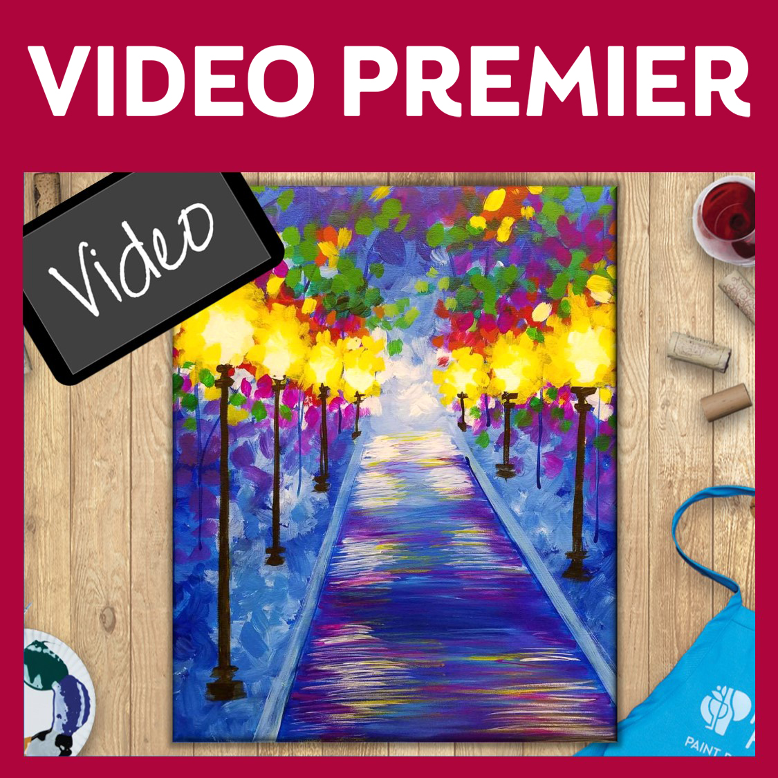 Video Premier! Paint & Sip Video - PAINTING KIT INCLUDED  - WATCH NOW or Later up to 7 days