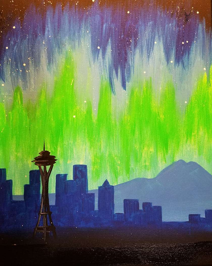 Seattle Night Sky Painting