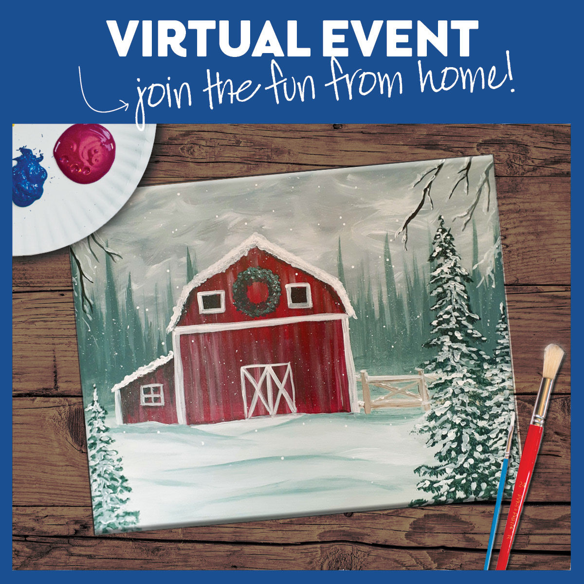 #PinotsLive from South Hill! VIRTUAL CLASS $15-37 w/Paint at Home Kit Option - Access for 7 days