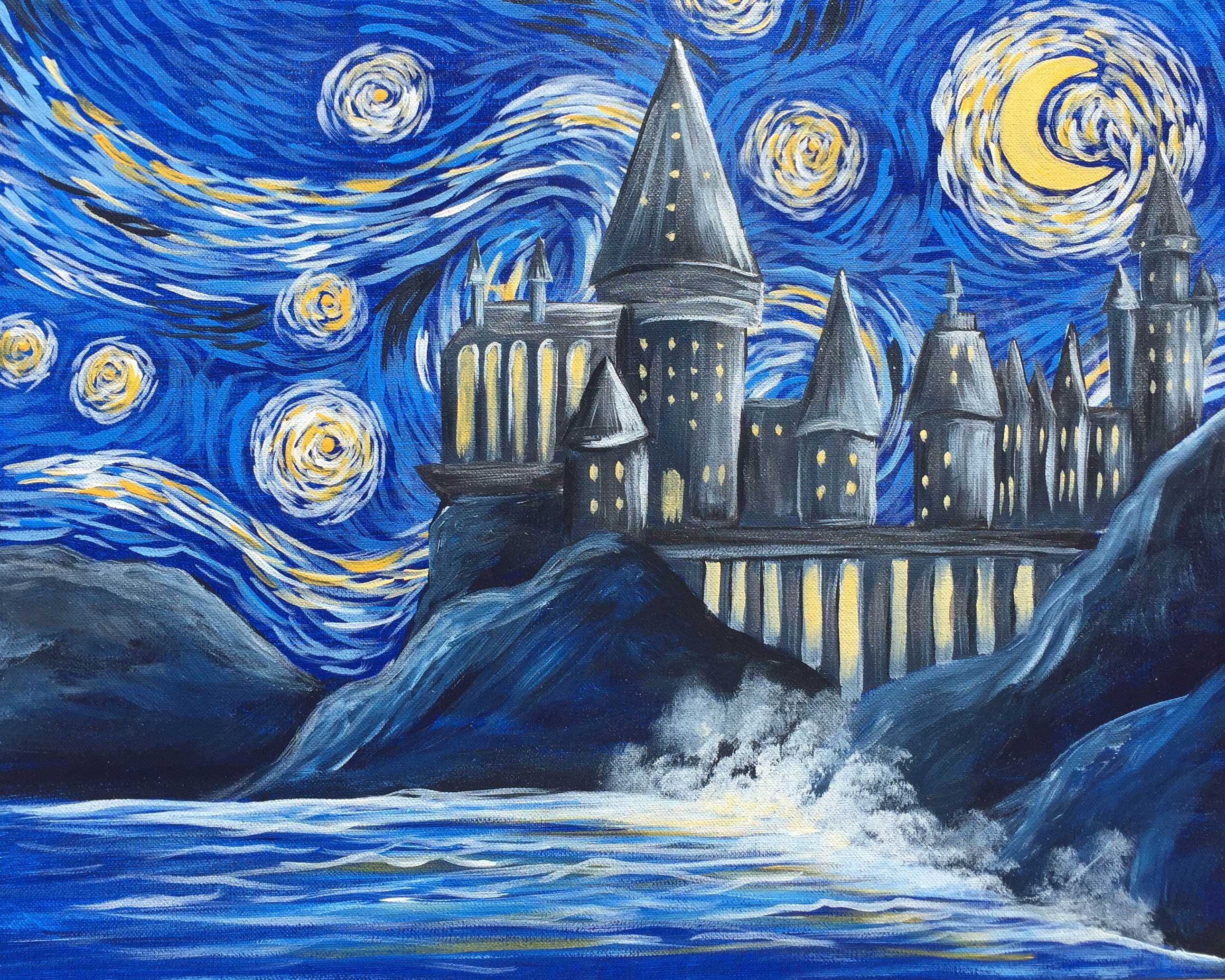 Starry night wizards castle fri dec 16 7pm at spokane for Paint night home parties