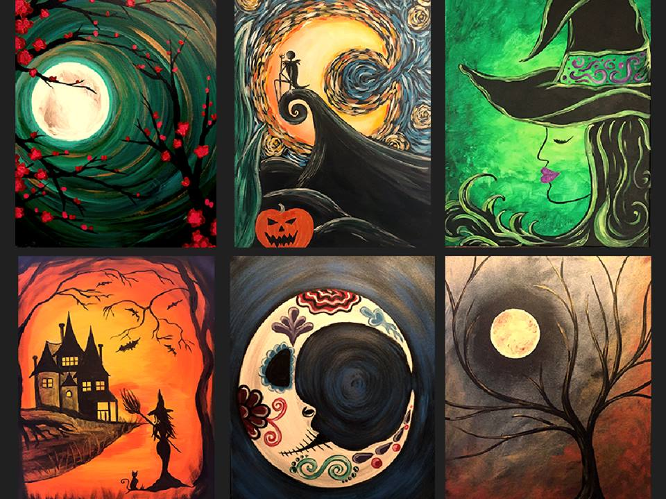Get your trick or treat or paint on this halloween for Wine and paint st louis