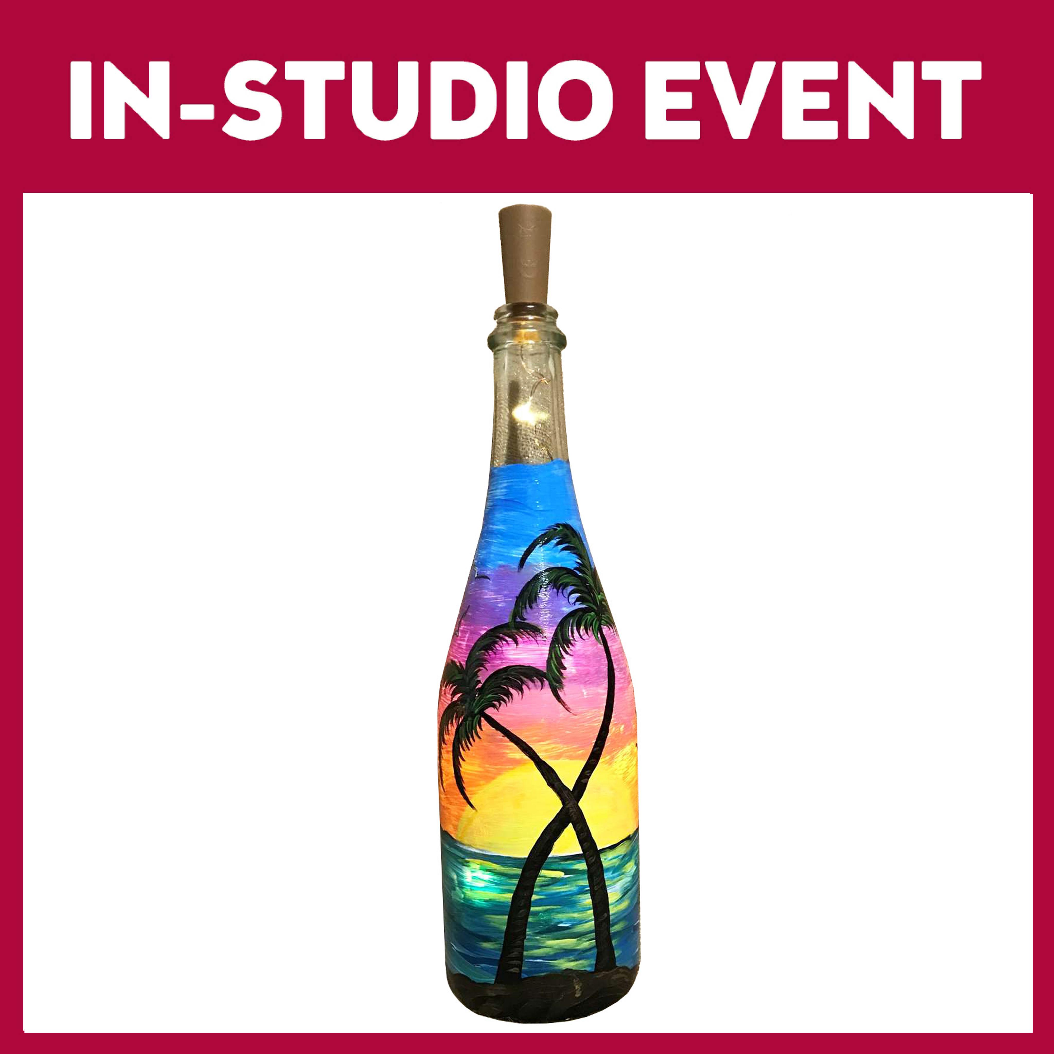 Wine Down at Sunset - Wine Bottle