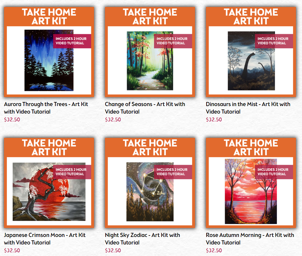 Take Home Art Kit with Video Tutorial. Click Here For More!
