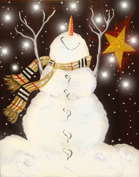 Painting, Pinot's Palette, Paint and Sip, Girls Night Out, Illuminated Paintings, Light-up Snowman