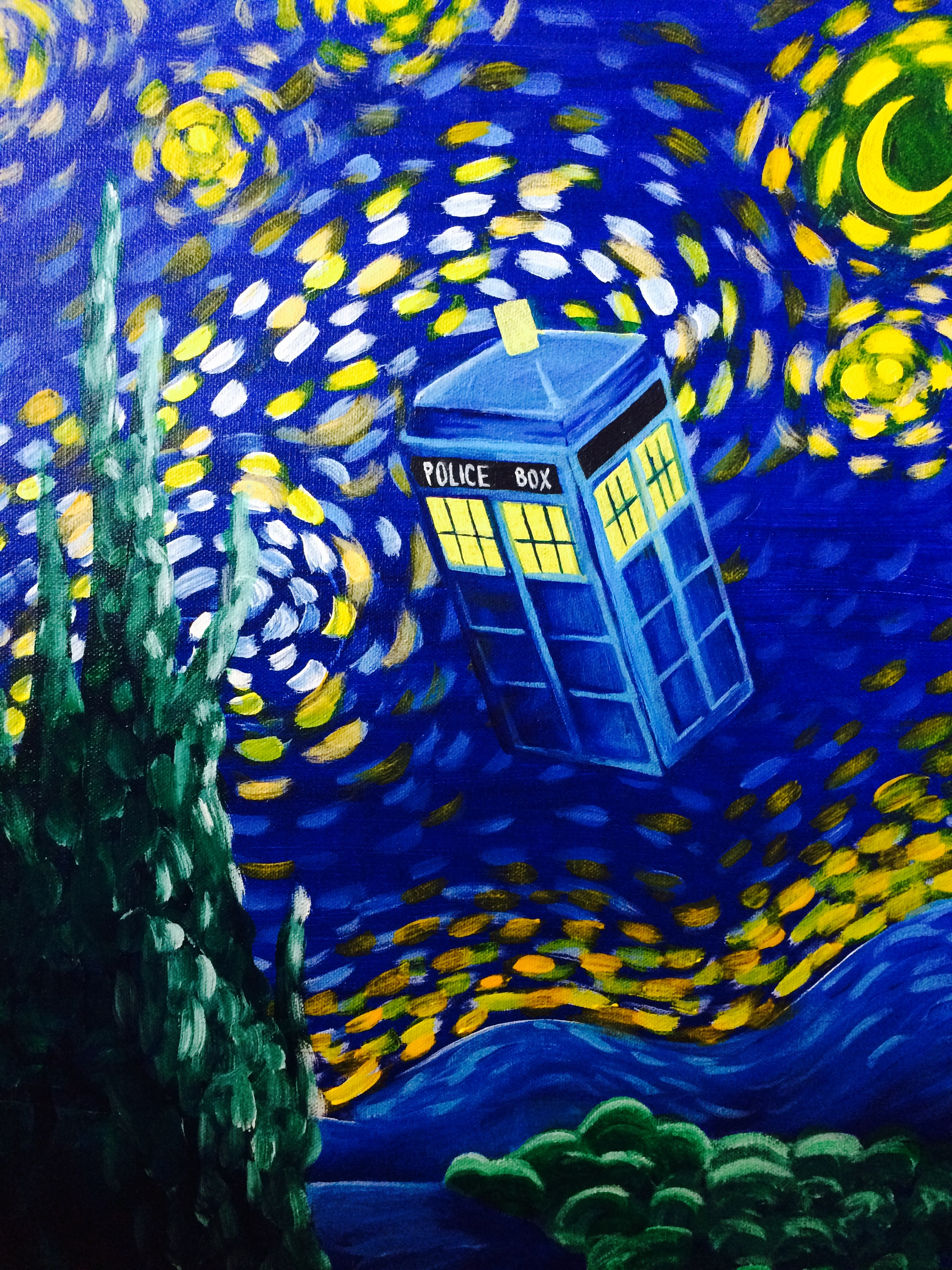 Dr Who, Painting, Paint and Sip, Starry Nights, Nerd Art