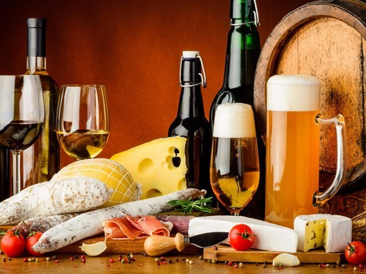 image of food and wine and beer