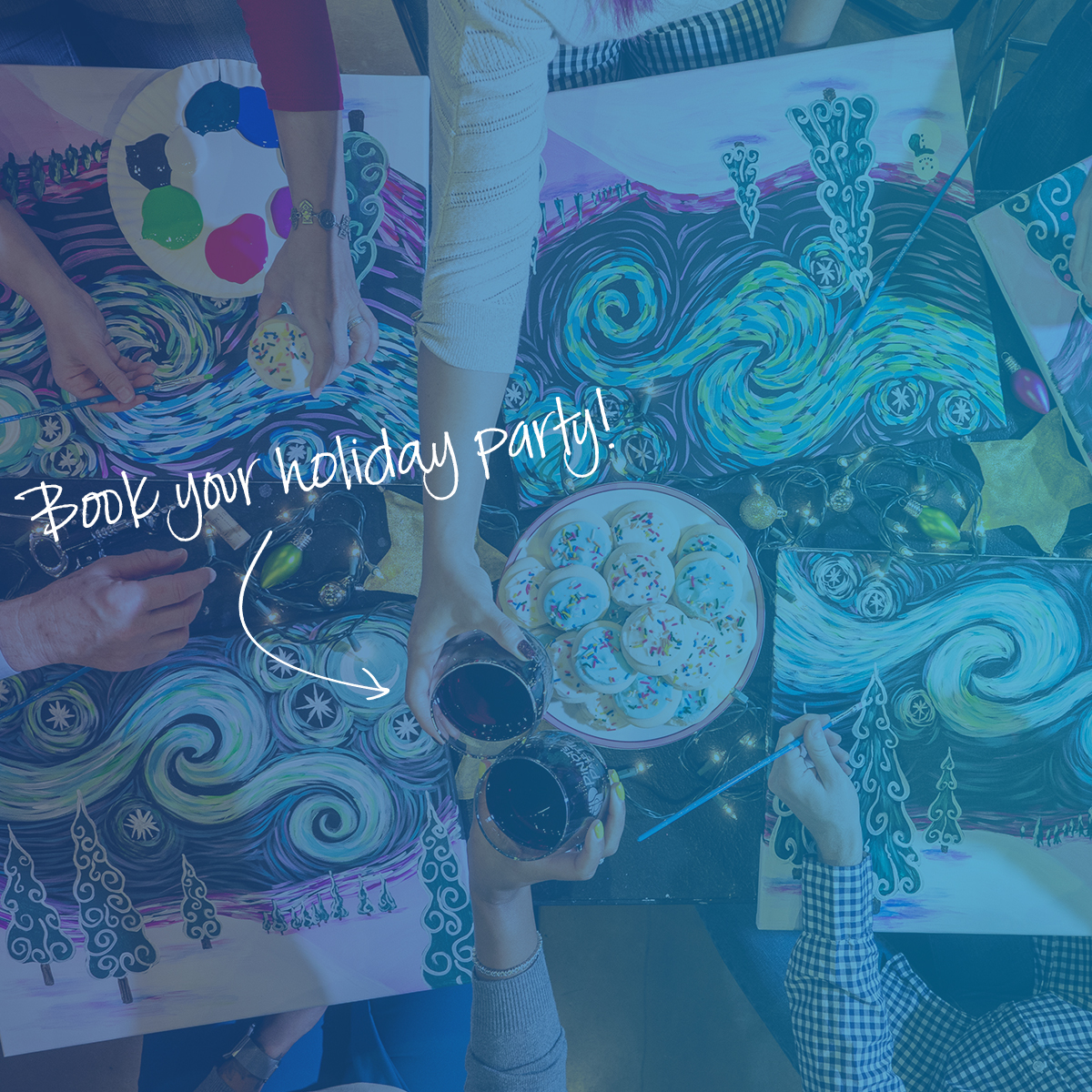 paint and sip, wine and painting, kids parties, team building, holiday parties
