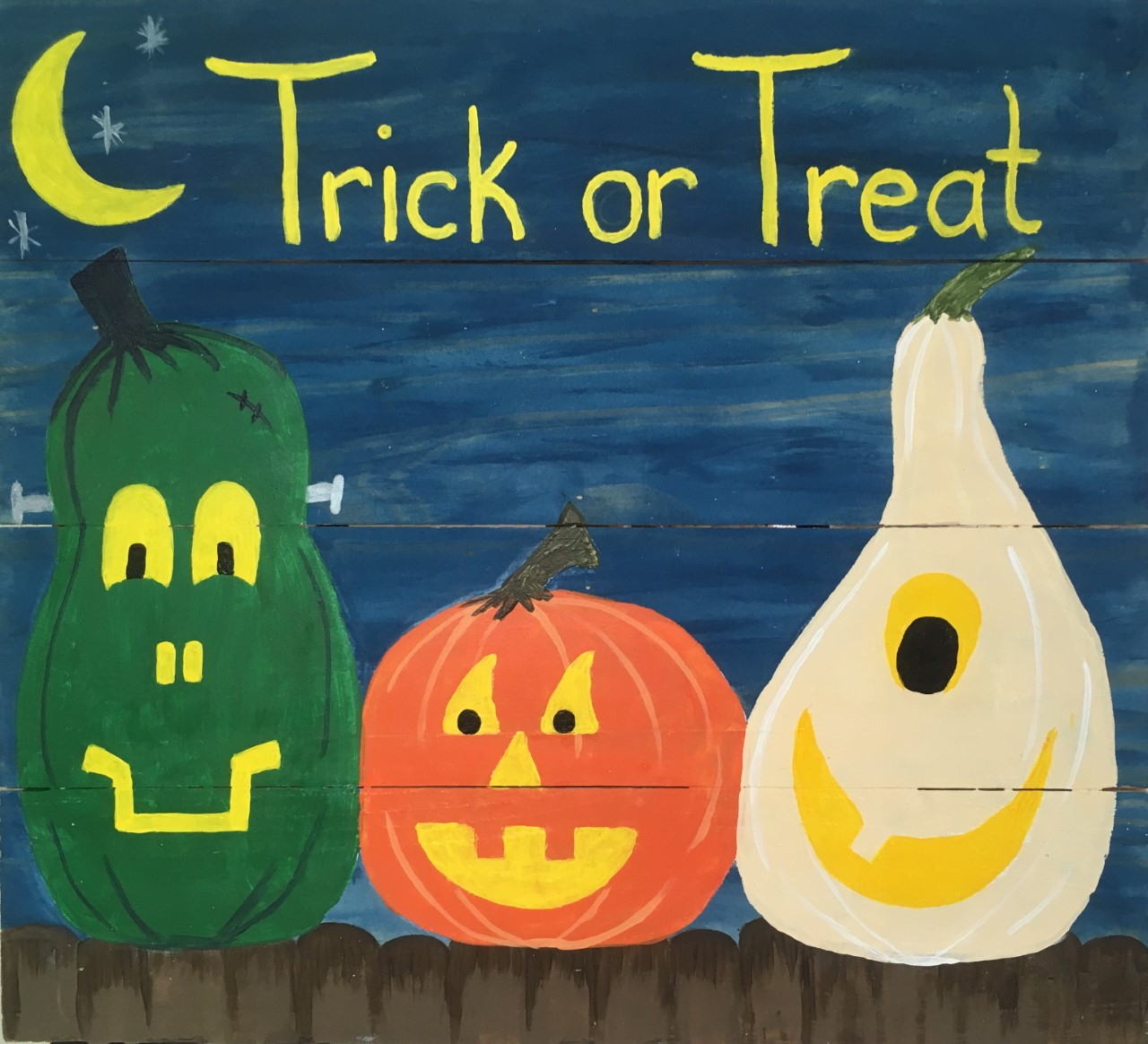 Nighttime Trick or Treat Wood Pallet Sign