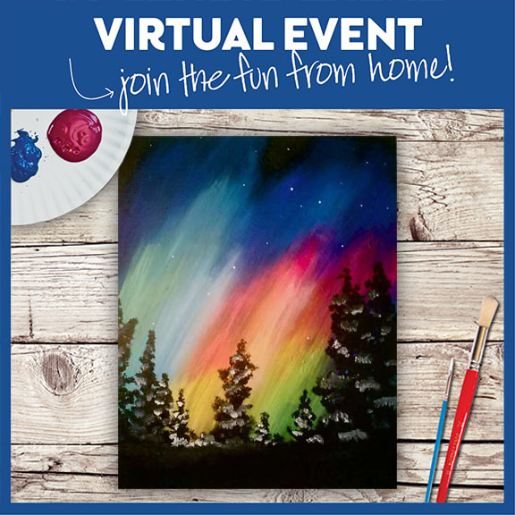 LIVE VIRTUAL CLASS + 7 DAYS ON-DEMAND: AURORA NIGHT - INCLUDES PAINT FROM HOME ART KIT