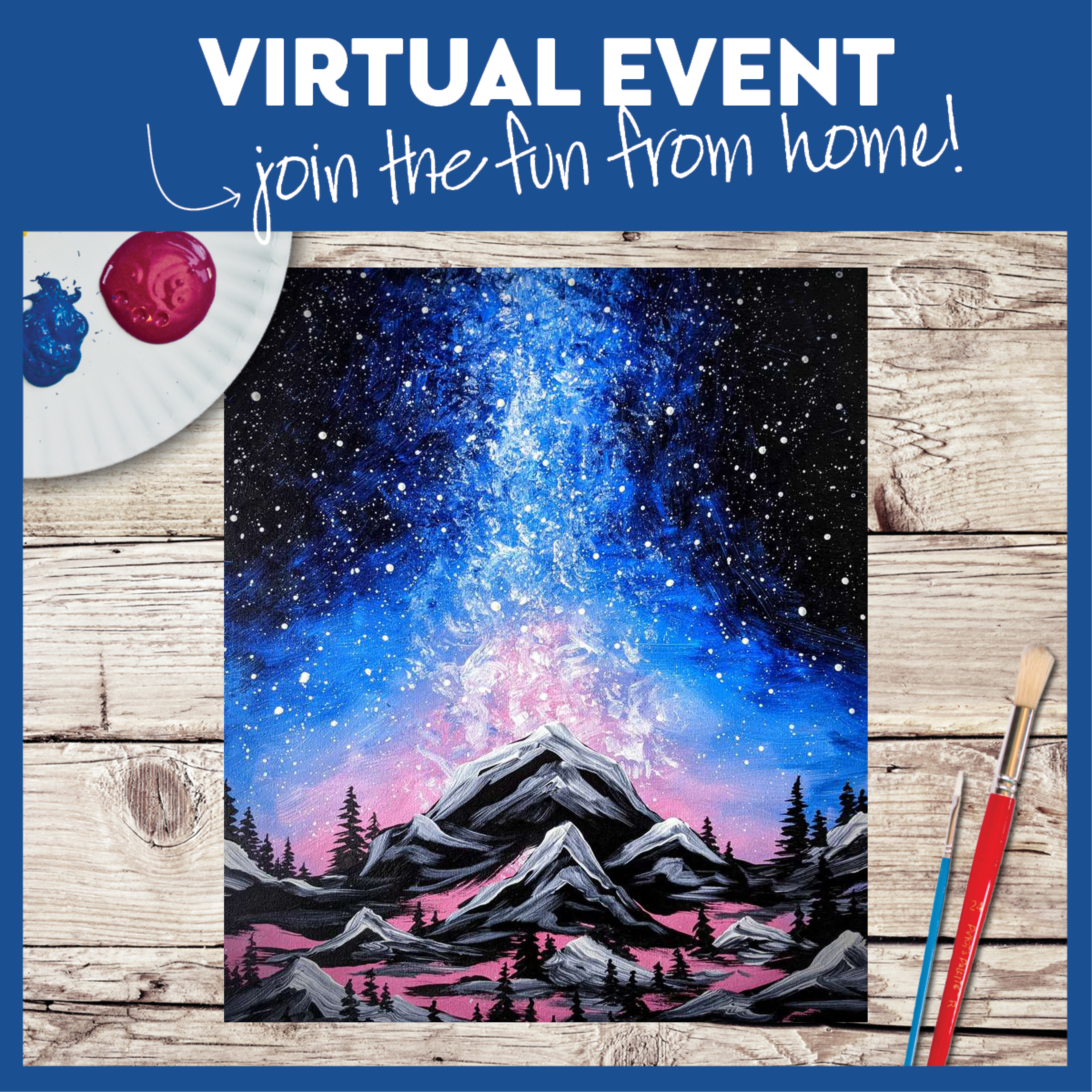 LIVE VIRTUAL CLASS: BRIGHT MOUNTAIN PEAK - WITH ART KIT OR PROVIDE YOUR OWN SUPPLIES