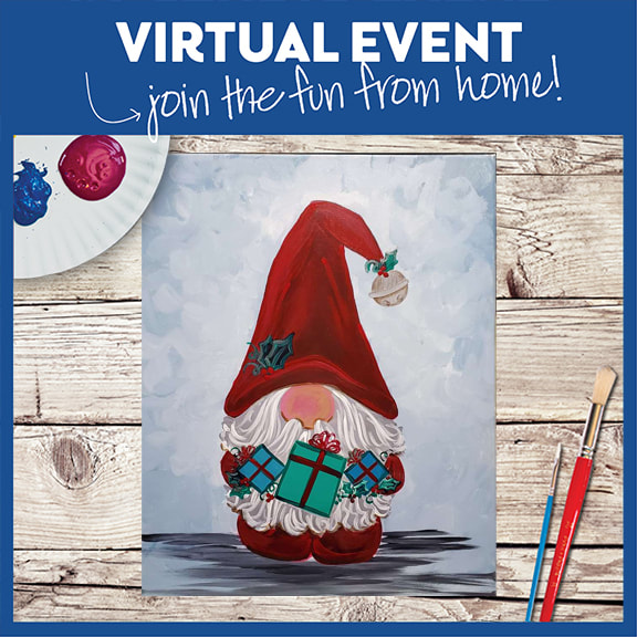 LIVE VIRTUAL CLASS + 7 DAYS ON-DEMAND: FESTIVE GNOME - INCLUDES PAINT FROM HOME ART KIT