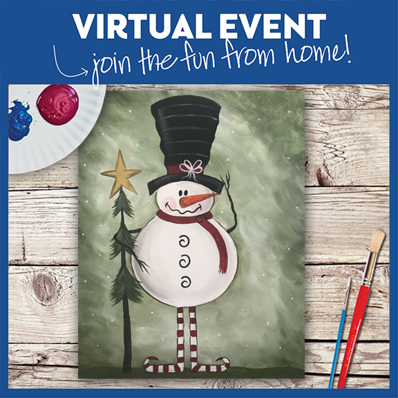LIVE VIRTUAL CLASS + 7 DAYS ON-DEMAND: FOLK ART SNOWMAN - INCLUDES PAINT FROM HOME ART KIT
